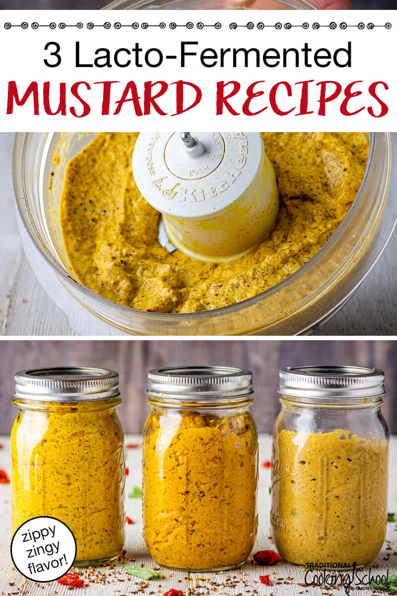 """Two images of homemade mustard. Top image is of mustard in a food processor, second image is of three different lacto-fermented mustard recipes in mason jars. Text overlay says, """"3 Lacto-Fermented Mustard Recipes"""""""