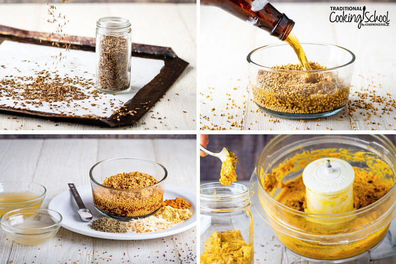 Four image collage of recipe steps for homemade mustard.