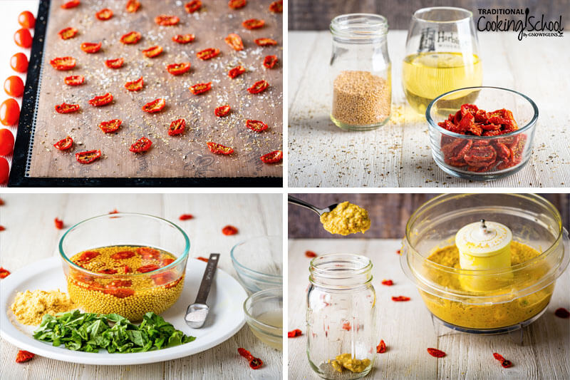 Four image collage. First image is of tomato slices on a dehydrator tray. Second image is of dehydrated tomatoes, mustard seeds and wine. Third image is of mustard seeds, dried tomatoes, mustard powder, chopped basil and salt on a plate. Fourth image is of mustard ingredients blended in a food processor and a spoon dropping mustard into the jar.