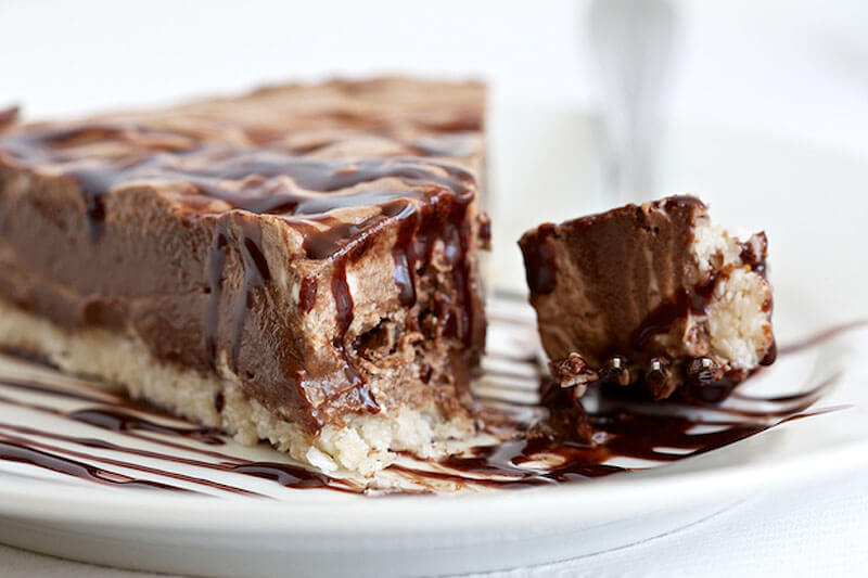 chocolate coconut ice cream pie drizzled with chocolate