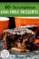 """chocolate lava cake with filling oozing out. Text overlay says: """"60+ Scrumptious Egg-Free Desserts (grain-free, dairy-free, & nut-free options too!)"""""""