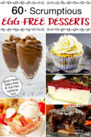 """photo collage of pudding, cupcakes, cheesecake, cobbler, and chocolate lava cake. Text overlay says: """"60+ Scrumptious Egg-Free Desserts (grain-free, dairy-free, & nut-free options too!)"""""""