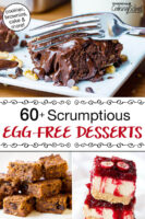 """photo collage of photo collage of chocolate cake, carrot cake, and cranberry orange bars. Text overlay says: """"60+ Scrumptious Egg-Free Desserts (cookies, brownies, cake & more!)"""""""