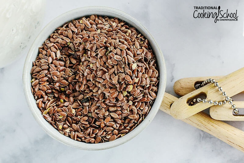 small bowl of flax seeds
