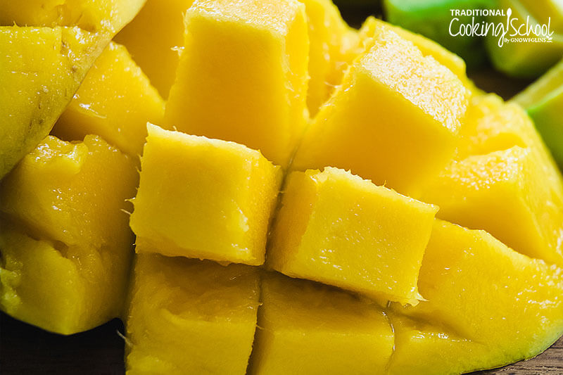 fresh mango cut open and sliced