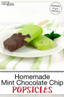 "two bright green popsicles dipped in chocolate on a plate with text overlay: ""Homemade Mint Chocolate Chip Popsicles (dairy-free option!)"""