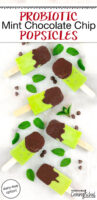 "bright green popsicles dipped in chocolate with text overlay: ""Probiotic Mint Chocolate Chip Popsicles (dairy-free option!)"""