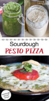 "photo collage of pesto, sourdough starter, and cheesy, herbed pizza on a plate. Text overlay says: ""Sourdough Pesto Pizza (sourdough discard recipe!)"""