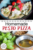 "photo collage of making pesto as well as slices of cheesy, herbed pizza on a plate. Text overlay says: ""Homemade Pesto Pizza (instant sourdough recipe!)"""