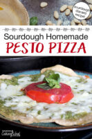 "photo collage of pesto and cheesy, herbed pizza on a plate. Text overlay says: ""Sourdough Homemade Pesto Pizza (sourdough discard recipe!)"""