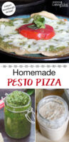 "photo collage of pesto, sourdough starter, and cheesy, herbed pizza on a plate. Text overlay says: ""Homemade Pesto Pizza (instant sourdough recipe!)"""