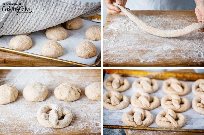 4 images of steps for making homemade sourdough pretzels.