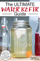 "brewing first ferment of water kefir in a gallon jar with finished bottled, flavored water kefir to one side. Text overlay says: ""The ULTIMATE Water Kefir Guide (how to make it, store it, flavor it, brewing tips & MORE!)"""