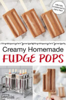 "photo collage of pouring chocolate mixture into popsicle molds, a hand holding up a chocolate popsicle with a bite taken out of it, and chocolate popsicles arranged on an tray of ice cubes. Text overlay says: ""Creamy Homemade Fudge Pops (naturally sweetened & dairy-free!)"""