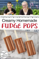 "photo collage of chocolate popsicles arranged on an tray of ice cubes, and two teenagers smiling while holding up their popsicles. Text overlay says: ""Creamy Homemade Fudge Pops (dairy-free with sugar-free options!)"""