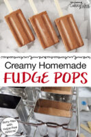 "photo collage of chocolate popsicles arranged on an tray of ice cubes, popsicle molds filled with the chocolate mixture. Text overlay says: ""Creamy Homemade Fudge Pops (dairy-free with sugar-free options!)"""