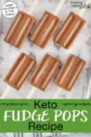 "chocolate popsicles arranged on an tray of ice cubes. Text overlay says: ""Keto Fudge Pops Recipe (super chocolate-y and *not* drippy!)"""