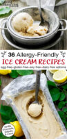 "photo collage of brightly colored bowls of ice cream, with text overlay: ""36 Allergy-Friendly Ice Cream Recipes (egg-free, gluten-free, soy-free, dairy-free options) (vanilla, chocolate, sorbets & more!)"""