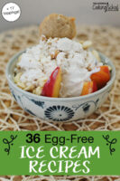 "bowl of peach ice cream, with text overlay: ""36 Egg-Free Ice Cream Recipes (+17 toppings!)"""