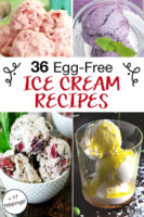 "photo collage of homemade ice creams, with text overlay: ""36 Egg-Free Ice Cream Recipes (+17 toppings!)"""