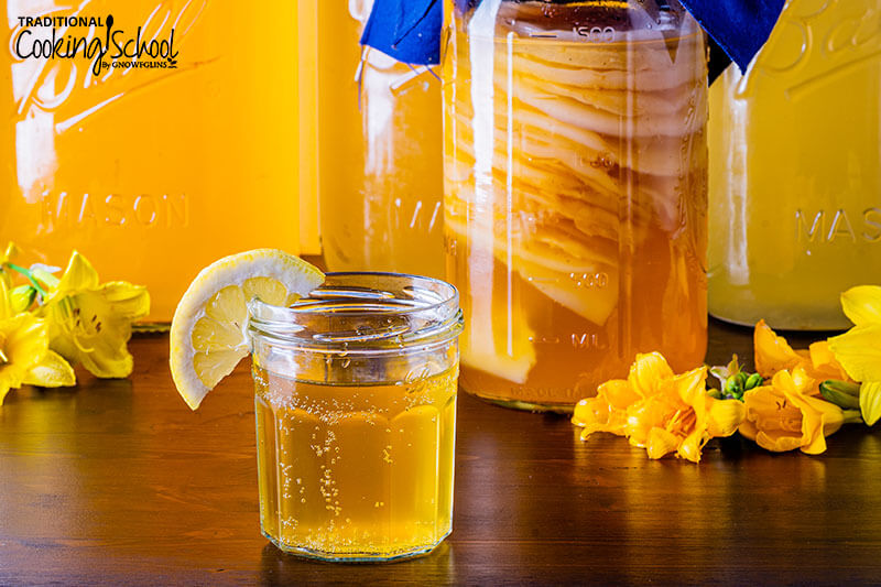 stack of Kombucha SCOBYS suspended in a jar of brew, with a glass of golden-colored Kombucha in the foreground