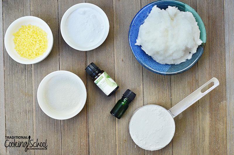 Ingredients needed for making deodorant: beeswax pastilles, baking soda, arrowroot powder, Bentonite clay, coconut oil, and essential oils.