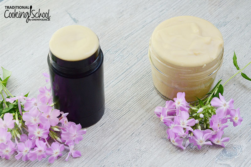 Side by side comparison of homemade deodorant in a deodorant stick, and in a small glass jar.