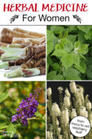 """Photo collage of herbs, including dong quai, red raspberry leaf, and vitex. Text overlay says: """"Herbal Medicine For Women (from maca to red raspberry leaf!)"""""""