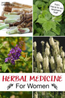 """Photo collage of herbs, including black cohosh, red raspberry leaf, and vitex. Text overlay says: """"Herbal Medicine For Women (from maca to red raspberry leaf!)"""""""