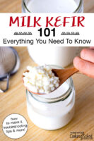 "Kefir grains in a wooden spoon above a jar of milk. Text overlay says: ""Milk Kefir 101: Everything You Need To Know (how to make it, troubleshooting tips & more!)"""