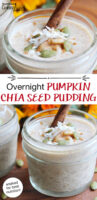 "photo collage of 1/2 pint jars of chia seed pudding, topped with a cinnamon stick, sprinkle of cinnamon, shredded coconut, and pumpkin seeds. Text overlay says: ""Overnight Pumpkin Chia Seed Pudding (soaked for best nutrition!)"""