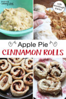 "Photo collage of cinnamon roll dough in a bowl, someone's hand rolling up the dough with toppings, cinnamon rolls baking in a cast iron skillet, and finished cinnamon rolls on a plate with frosting. Text overlay says: ""Apple Pie Cinnamon Rolls (with sourdough starter!)"""