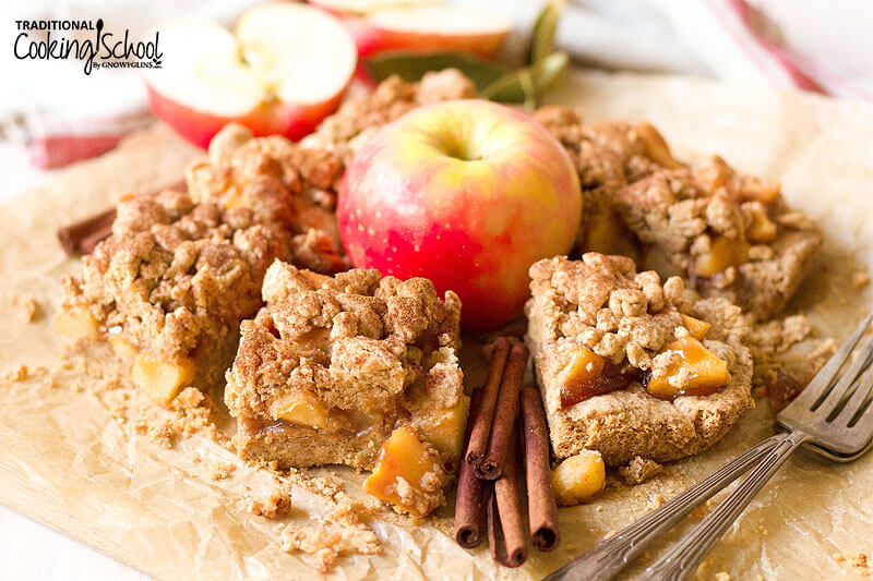 Grain-free apple pie shortbread bars.