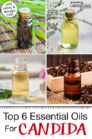 "Photo collage of various small bottles of essential oils. Text overlay says: ""Top 6 Essential Oils For Candida (with safety & dosage info!)"""
