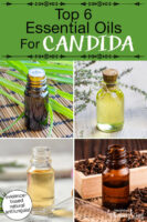"Photo collage of various small bottles of essential oils. Text overlay says: ""Top 6 Essential Oils For Candida (evidence-based natural antifungals!)"""