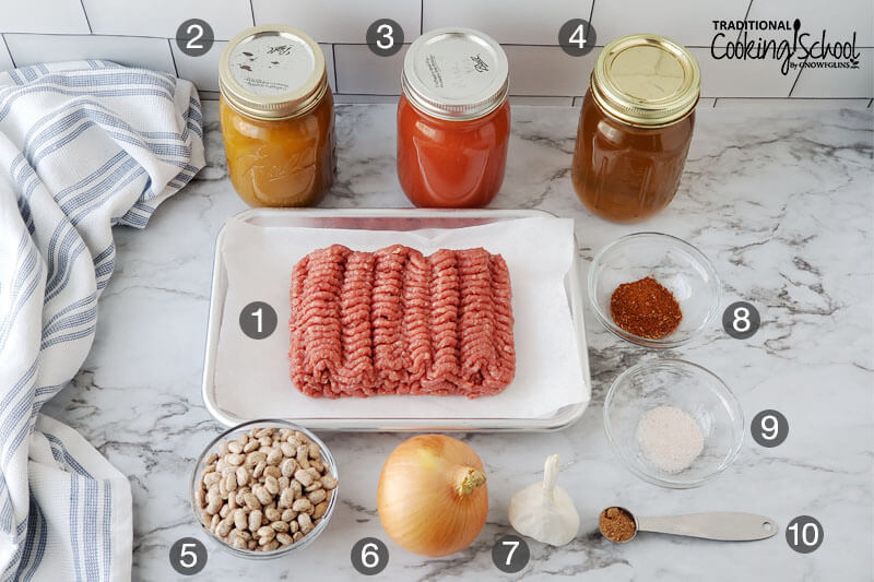 Ingredients for making chili: 1) ground meat 2) pumpkin puree 3) tomato sauce 4) bone broth 5) pinto beans 6) onion 7) garlic 8) chili powder 9) sea salt 10) nutmeg.