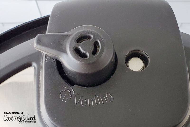 Close-up shot of the Venting/Sealing knob in the Instant Pot lid.