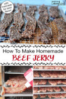 "Photo collage of making jerky: jerky gun making strips of raw meat, raw meat strips on dehydrator trays, and finished jerky on dehydrator tray. Text overlay says: ""How To Make Homemade Beef Jerky (with marinade for best flavor!)"""