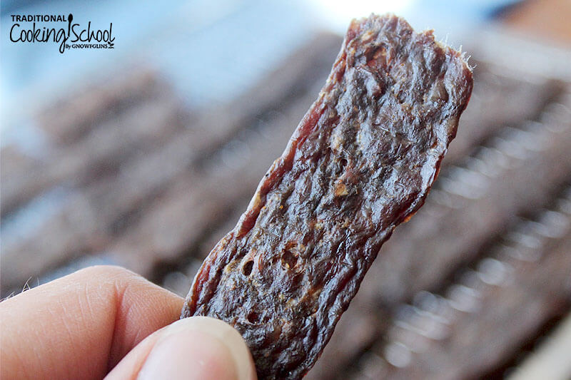 Woman's hand holding up a strip of homemade jerky.