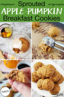 "Photo collage of making cookies: dry and wet ingredients in bowls, cookie scoop turning dough out onto tray, a plateful of cookies, and holding half a cookie up to show texture. Text overlay says: ""Sprouted Apple-Pumpkin Breakfast Cookies (THM:E)""."