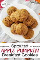 "Plateful of golden-brown cookies. Text overlay says: ""Sprouted Apple-Pumpkin Breakfast Cookies (THM:E)""."