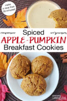 "Cookies on a plate and dipped in eggnog. Text overlay says: ""Spiced Apple-Pumpkin Breakfast Cookies (make in less than 30 minutes!)"""