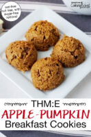 "Plate of golden-brown cookies. Text overlay says: ""THM:E Apple-Pumpkin Breakfast Cookies (oat-free, nut-free with sugar-free options)"""