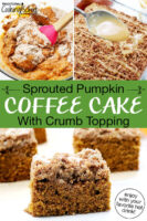 "Photo collage of coffee cake: mixing together ingredients in a bowl, drizzling cake with vanilla icing, and a slice of cake on a plate. Text overlay says: ""Sprouted Pumpkin Coffee Cake With Crumb Topping (enjoy with your favorite hot drink!)"""