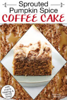 "Slice of cake with a caramel-colored drizzle. Text overlay says: ""Sprouted Pumpkin Spice Coffee Cake (with crumb topping & vanilla icing!)"""