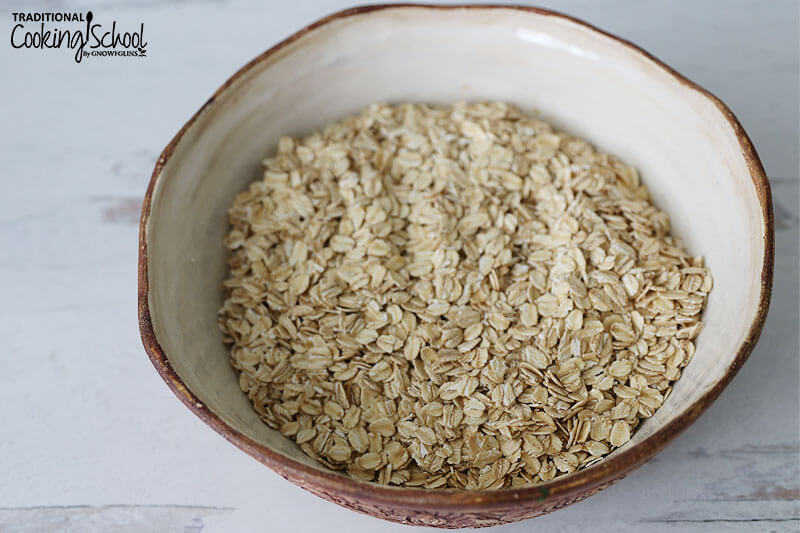 Large bowl of rolled oats.