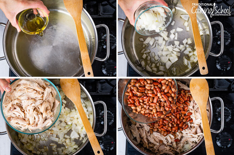 Four photos showing the steps of making chili. Oil going into a hot pan, sautéing onions, adding chicken, adding beans.