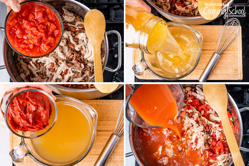 Instruction steps for chicken chili. Adding diced tomatoes, adding broth and tomato paste into a bowl, then pouring that mixture into the chili.
