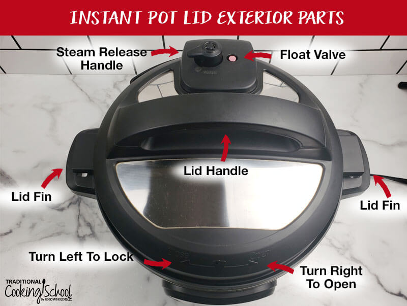 """Overhead shot of the Instant Pot pressure cooker titled, """"Instant Pot Lid Exterior Parts"""" with all of its parts labeled, including the steam release valve, float valve, two lid fins, the lid handle, how to turn left to lock, and how to turn right to open."""