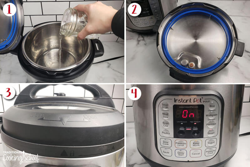 """Photo collage of running an Instant Pot water test: 1) pouring water into the insert pot 2) underside of the lid with sealing valve 3) cooker with the lid sealed in place 4) cooker turned on so that the electronic control panel says """"On"""" in red letters."""